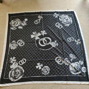 """Silk scarf black & white unknown maker 50"""""""